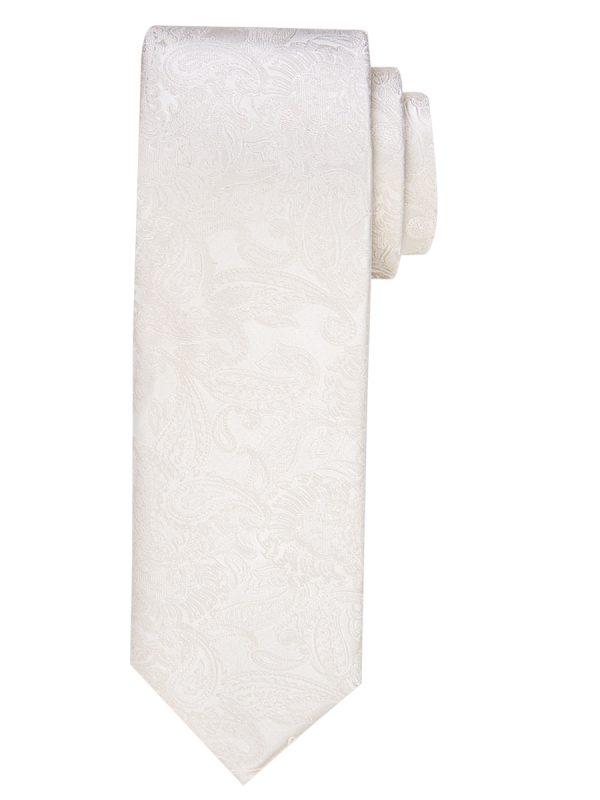 Stropdas zuiver zijde paisley patroon ivoor