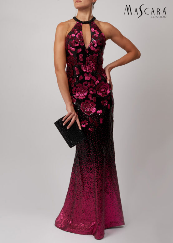 Bloemen patroon pailletten jurk lang fuchsia