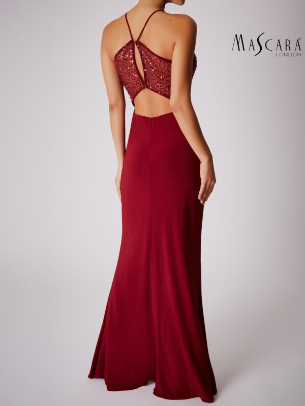 Halter kraaltjes sweetheart jurk lang bordeaux achterkant