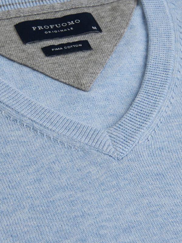V-Hals trui katoen baby blue detail