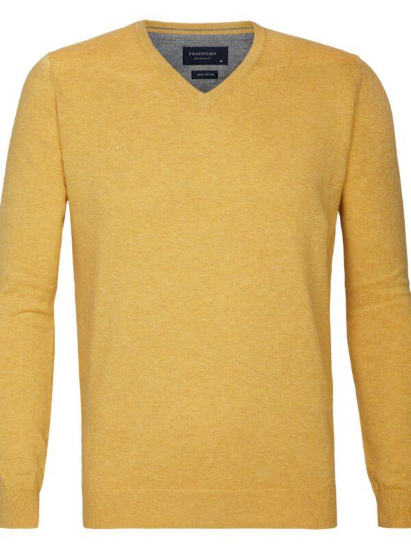 V-Hals trui katoen geel