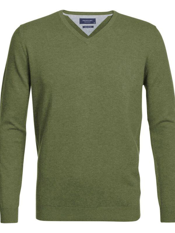 V-Hals trui katoen leger groen